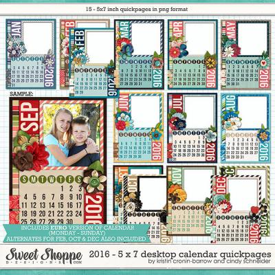 2016 5x7 Desktop Calendar Quickpages by Cindy Schneider and Kristin Cronin-barrow
