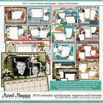 2016 Calendar Quickpages Toppers and Bottoms by Kristin Cronin-Barrow and Cindy Schneider
