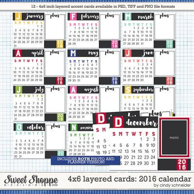 Cindy's Layered Cards - 4x6 2016 Calendars by Cindy Schneider