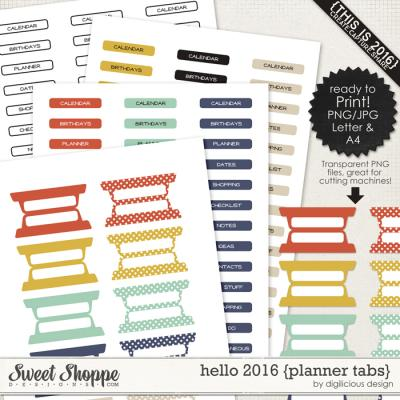 Hello 2016 {Planner Tabs} by Digilicious Design