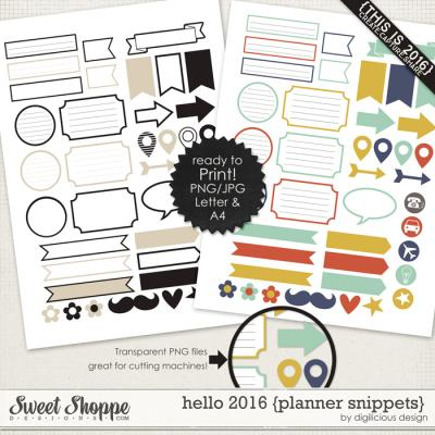 Hello 2016 {Planner Snippets} by Digilicious Design