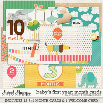 Baby's First Year : Month Cards by Amanda Yi & Tickled Pink Studio