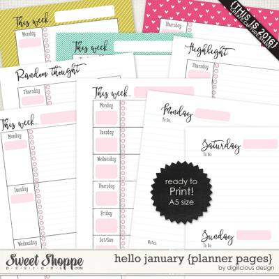Hello January {Planner Pages} by Digilicious Design