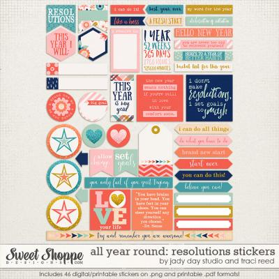 All Year Round: Resolutions Stickers by Traci Reed and Jady Day Studio