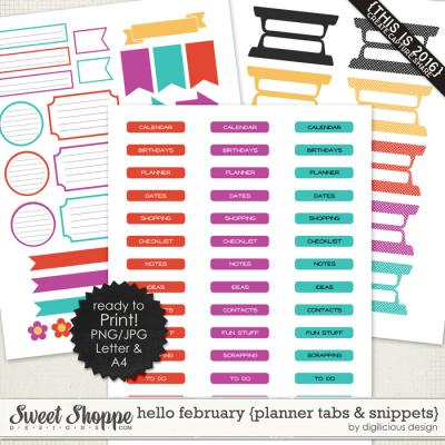 Hello February {Planner Tabs & Snippets} by Digilicious Design