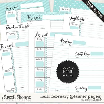 Hello February {Planner Pages} by Digilicious Design