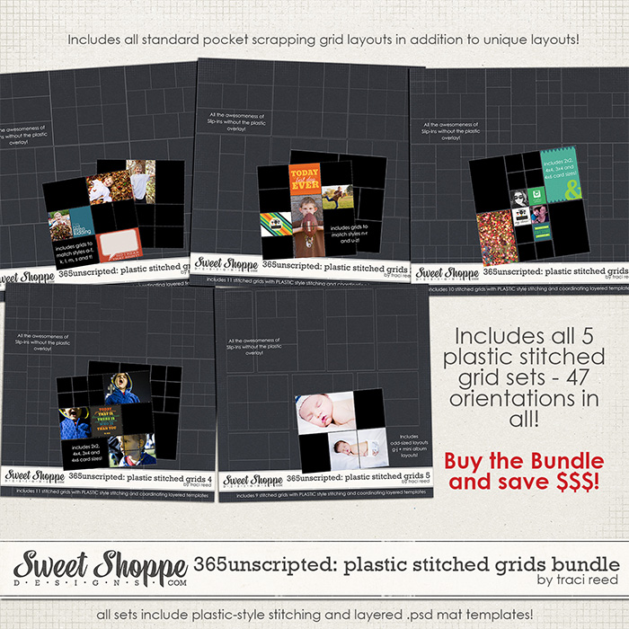 365Unscripted: Plastic Stitched Grids Bundle by Traci Reed