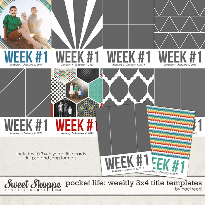 Pocket Life: 3x4 Weekly Title Templates by Traci Reed