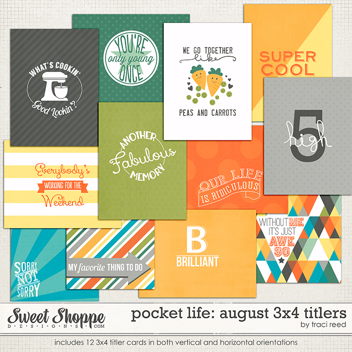 Pocket Life: August 3x4 Titlers by Traci Reed