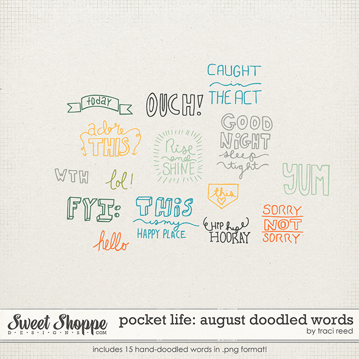 Pocket Life: August Doodled Words by Traci Reed