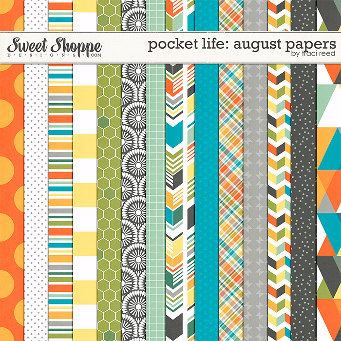 Pocket Life: August Digital Papers by Traci Reed