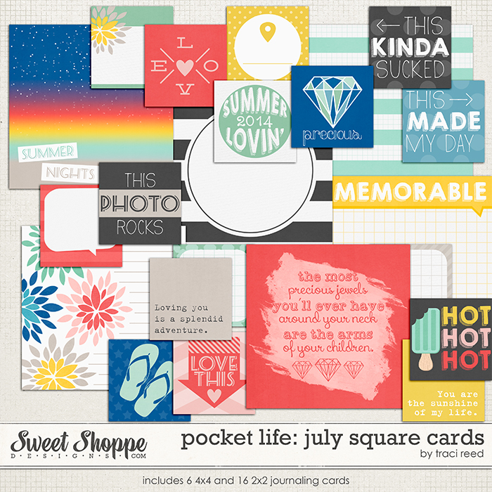 Pocket Life: July Square Cards by Traci Reed