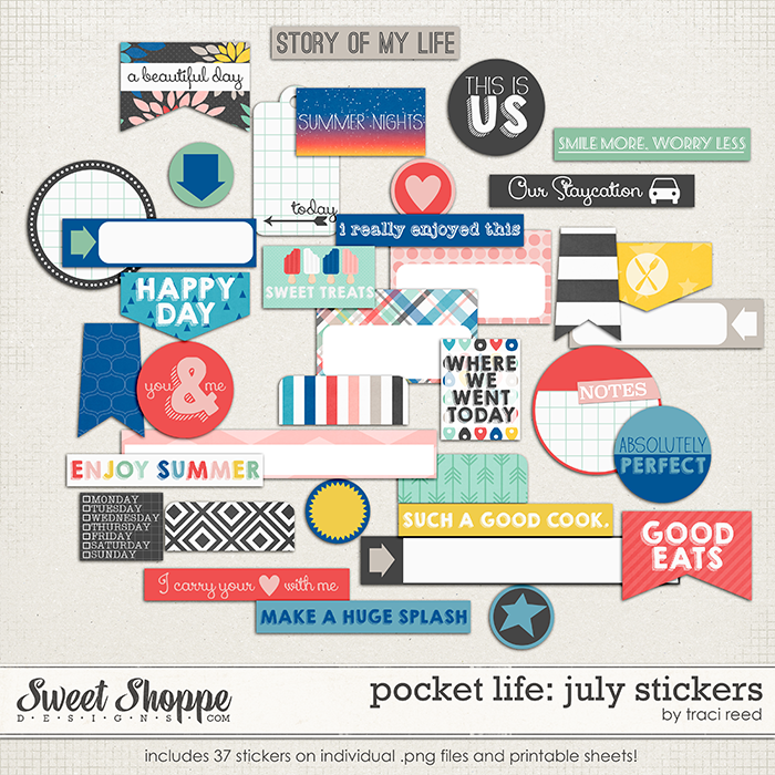 Pocket Life: July Stickers by Traci Reed