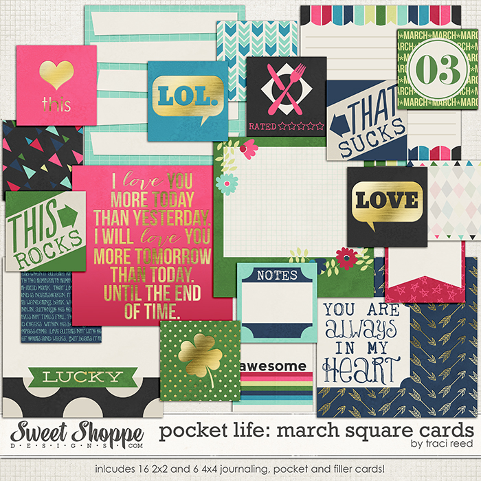 Pocket Life: March Square Cards by Traci Reed