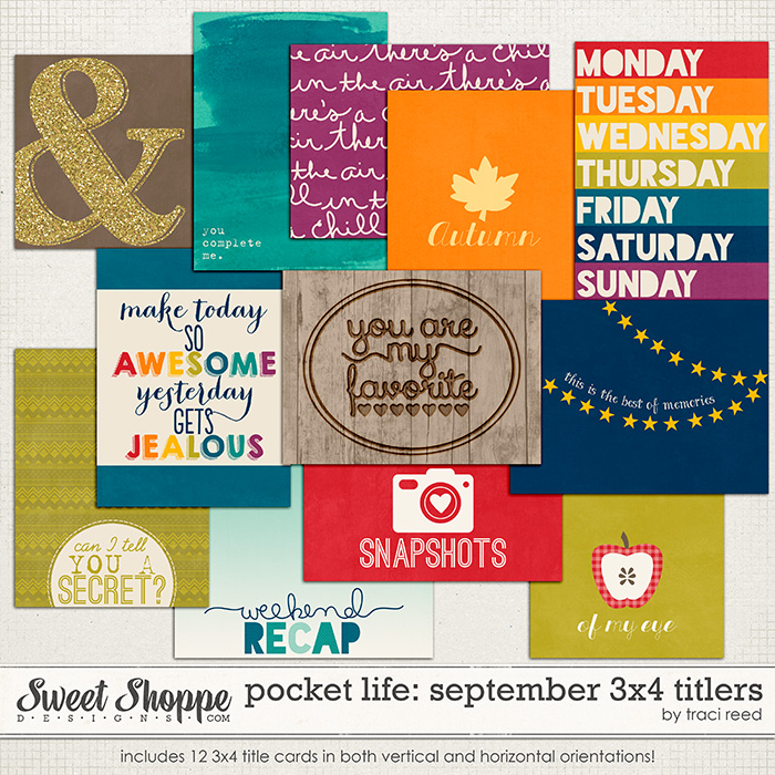 Pocket Life: September 3x4 Titlers by Traci Reed
