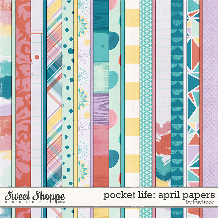 Pocket Life: April Digital Papers by Traci Reed