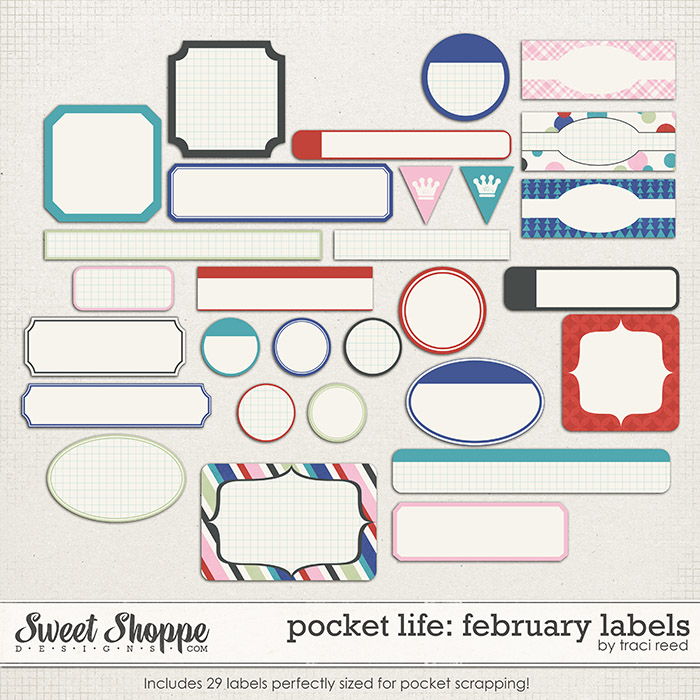 Pocket Life: February Labels by Traci Reed
