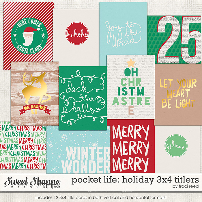 Pocket Life: Holiday 3x4 Titlers by Traci Reed