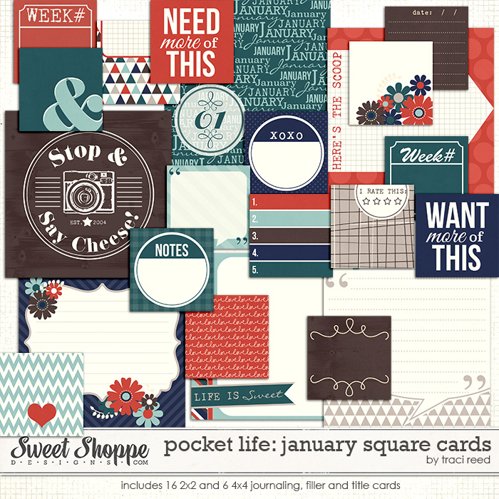 Pocket Life: January Square Cards by Traci Reed