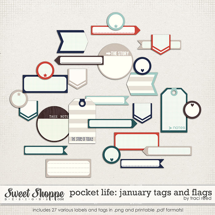 Pocket Life: January Tags and Flags by Traci Reed