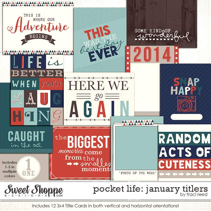 Pocket Life: January 3x4 Titlers by Traci Reed