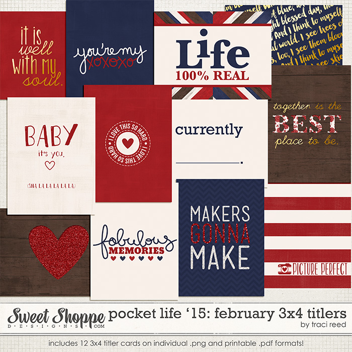 Pocket Life '15: February 3x4 Titlers by Traci Reed