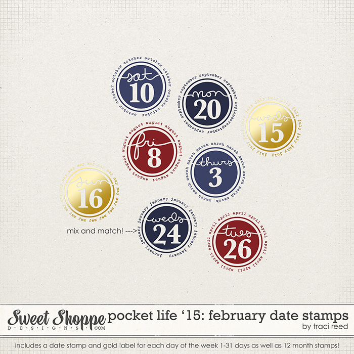 Pocket Life '15: February Date Stamps by Traci Reed