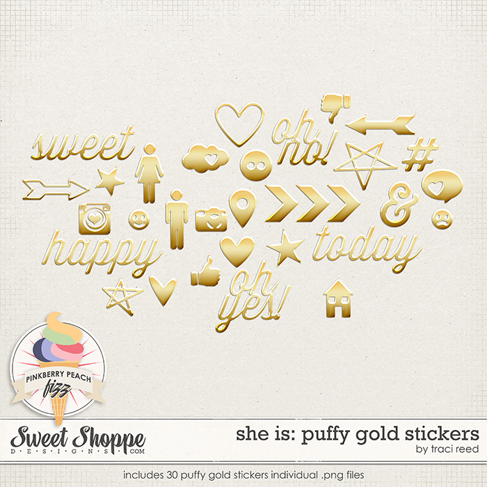She Is: Puffy Gold Stickers by Traci Reed