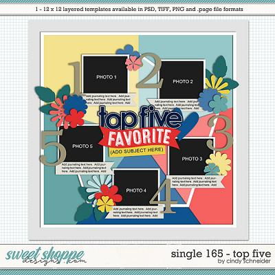 Cindy's Layered Templates - Single 165: Top Five by Cindy Schneider