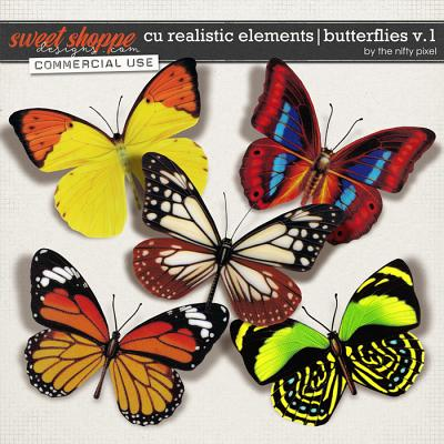 CU REALISTIC ELEMENTS | BUTTERFLIES V.1 by The Nifty Pixel