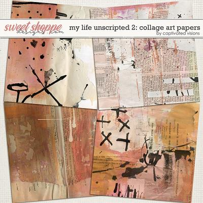 My Life Unscripted 2: Collage Art Papers by Captivated Visions