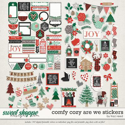 Comfy Cozy Are We Stickers by Traci Reed