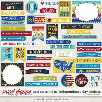 God Bless The US: Independence Day Stickers by Traci Reed
