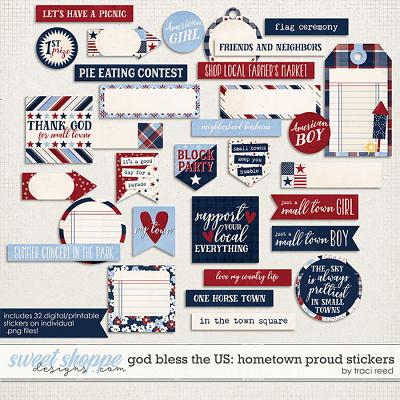 God Bless The US: Hometown Proud Stickers by Traci Reed