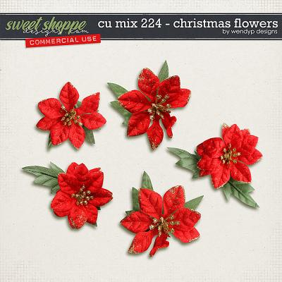 CU Mix 224 - Christmas flowers by WendyP Designs