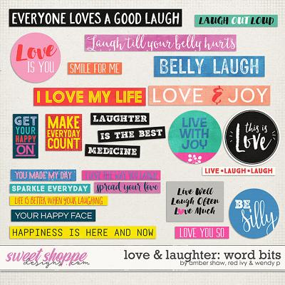 Love & Laughter word bits by Amber Shaw, Red Ivy & Wendyp