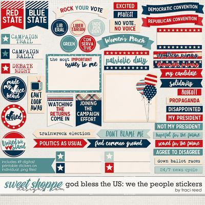 God Bless The US: We The People Stickers by Traci Reed
