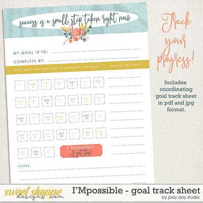 I'Mpossible Goal Track Sheet by Jady Day Studio