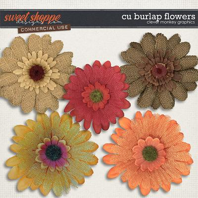 CU Burlap Flowers by Clever Monkey Graphics