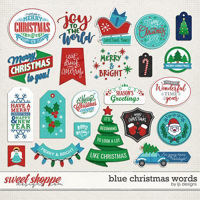 Blue Christmas Words by LJS Designs