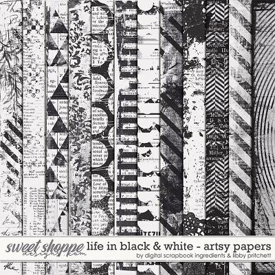 Life In Black & White | Artsy Papers by Libby Pritchett & Digital Scrapbook Ingredients