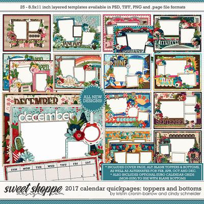 2017 Calendar Quickpages Toppers and Bottoms by Kristin Cronin-Barrow and Cindy Schneider