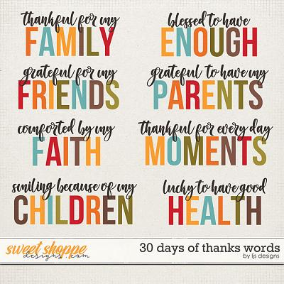 30 Days of Thanks Words by LJS Designs