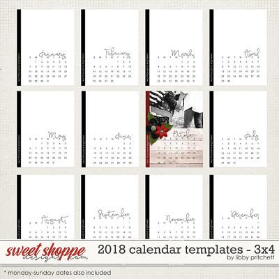 2018 Calendar Templates - 3x4 by Libby Pritchett