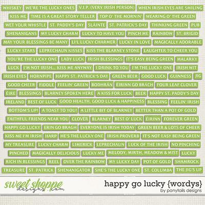 Happy Go Lucky Wordys by Ponytails