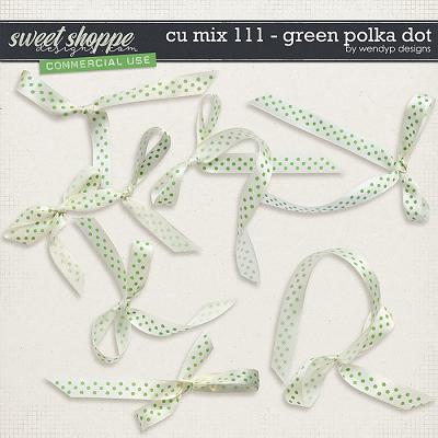 CU Mix 111 - Green polkadot ribbons by WendyP Designs