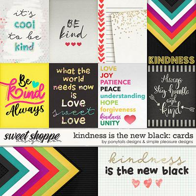 Kindness is the New Black Pocket Cards by Ponytails Designs and Simple Pleasure Designs