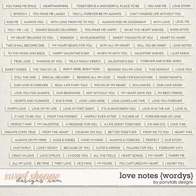 Love Notes Wordys by Ponytails