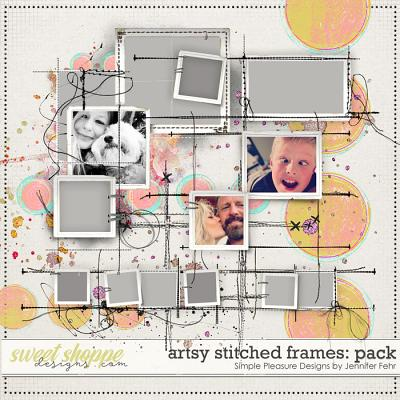 artsy stitched frames pack: simple pleasure designs by jennifer fehr
