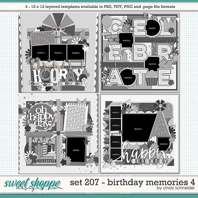Cindy's Layered Templates - Set 207: Birthday Memories 4 by Cindy Schneider